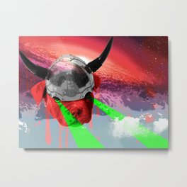 Viking Pitbull Puppy in Space Shooting Lasers Covered in the Blood of Rejected Valhalla Souls Metal Print
