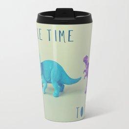 Make Time to Play - Blue and Purple Dino on Green Travel Mug