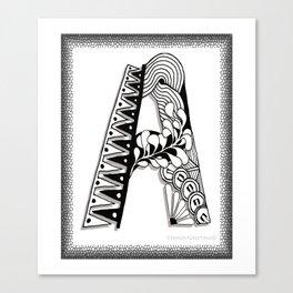 Zentangle A Monogram Alphabet Initials Canvas Print