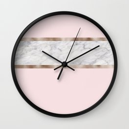 Strawberries and cream - grey marble & rose gold Wall Clock