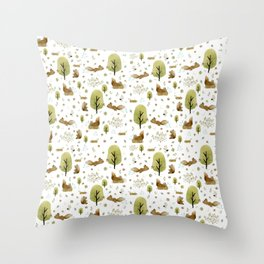 Squirrels in the forest Throw Pillow
