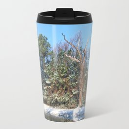 Woodland Pond in a Snowy  Landscape Travel Mug
