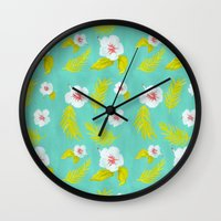 hibiscus Wall Clocks featuring Hibiscus by Maya Bee Illustrations