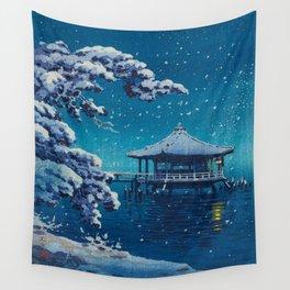 Tsuchiya Kôitsu Japanese Woodblock Vintage Print Blue Winter Snow Pagoda On Lake Wall Tapestry