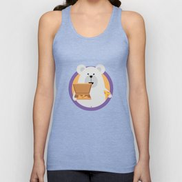 Polar Bear with Pizza in cirlce Unisex Tank Top