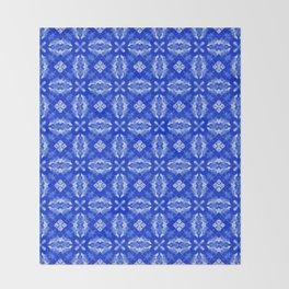 Sapphire Blue Diamond Floral Throw Blanket