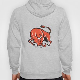 Angry Bull Charging Cartoon Hoody