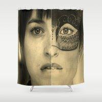 allyson johnson Shower Curtains featuring DAKOTA JOHNSON / ANASTASIA STEELE - FIFTY SHADES DARKER by Virginieferreux