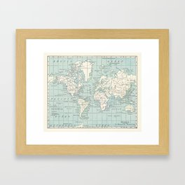 World Map in Blue and Cream Framed Art Print