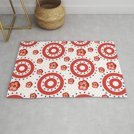 Red Poppies, Red Circles And Blue Stars Rug