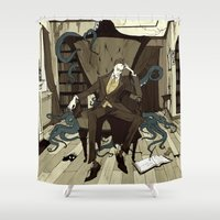 lovecraft Shower Curtains featuring H.P. Lovecraft by Abigail Larson