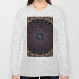 Mandala in dark red and brown tones Long Sleeve T-shirt