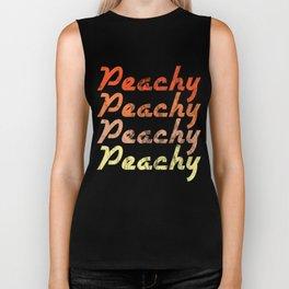 Peachy Peachy Peachy Retro Vintage Keen Peaches Fruit Smile Peachie Gift Biker Tank