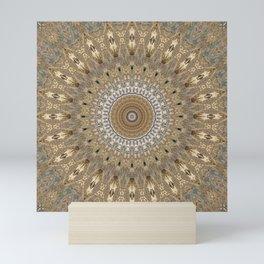 Sandy vibes mandala Mini Art Print