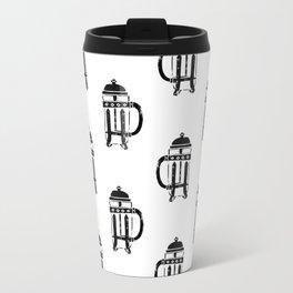 French Press linocut black and white pattern coffee art kitchen pattern art Travel Mug