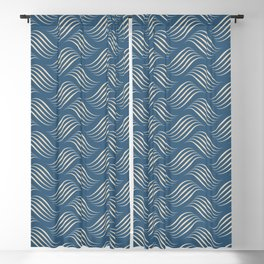 Beige Wavy Tessellation Lines on Dark Tropical Blue Pair To 2020 Color of the Year Chinese Porcelain Blackout Curtain