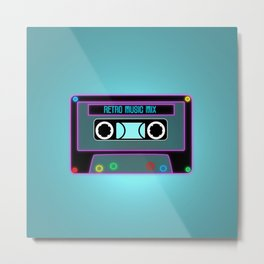 Retro Music Mix, Cassete neon Metal Print