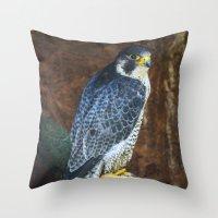 falcon Throw Pillows featuring Falcon by Veronika