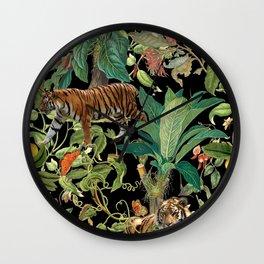 TIGER IN THE DARK JUNGLE Wall Clock