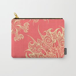 Oriental Tattoo Mandala gold on lobster Carry-All Pouch