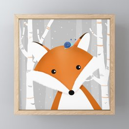 Fox and snail Framed Mini Art Print