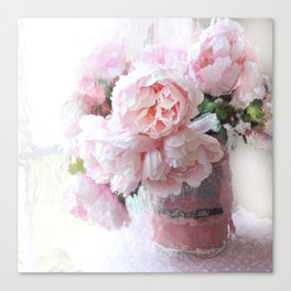 Impressionistic Dreamy Peony Peonies Wall Art Home Decor Canvas Print