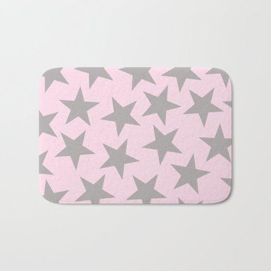Grey stars on pink background pattern Bath Mat