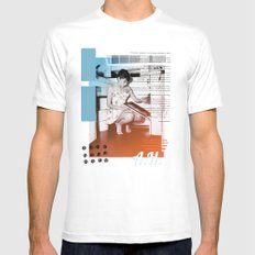 A.H. Collage White Mens Fitted Tee MEDIUM