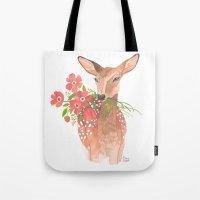 oana befort Tote Bags featuring Lovely Deer by Oana Befort