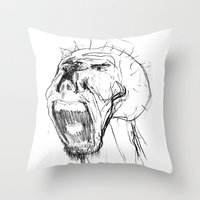 beast Throw Pillows featuring Beast by Luis C. Araujo