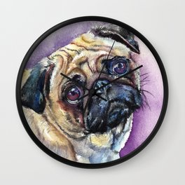 Purple Pug Dog Art Wall Clock