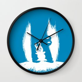 cornered! (bunny and crocodile) Wall Clock
