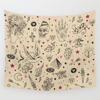 tattoos Wall Tapestries featuring Hand Drawn Flash Tattoos by PunkRockPlanet