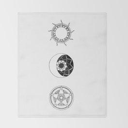 Sun, Moon and Star Mandalas Throw Blanket