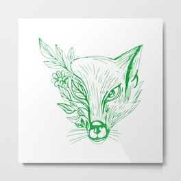 Fox Head With Flower and Leaves Drawing Metal Print
