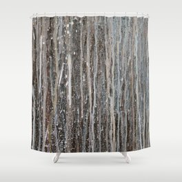Rainy Days // Black White Gray Drippy Water Abstract Painting Rain Cloud Dripping Contemporary Art Shower Curtain