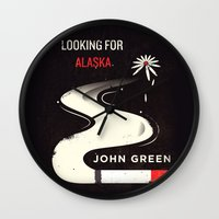 looking for alaska Wall Clocks featuring Looking for Alaska by Risa Rodil