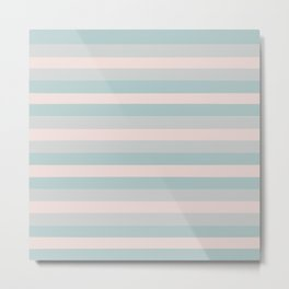 Dusty Teal and Dusty Rose Stripes Metal Print