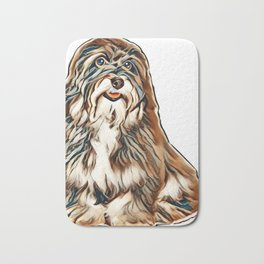 A beautiful smiling happy havanese male puppy dog is looking at camera, isolated on white background Bath Mat