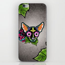 Chihuahua in Black - Day of the Dead Sugar Skull Dog iPhone Skin