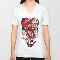 mad hatter V-neck T-shirts featuring The Mad Hatter by Megan Mars
