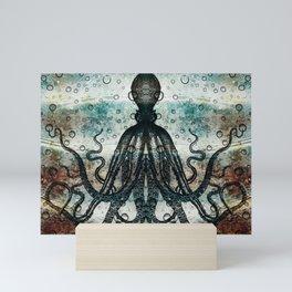 Octopus In Stormy Water Mini Art Print
