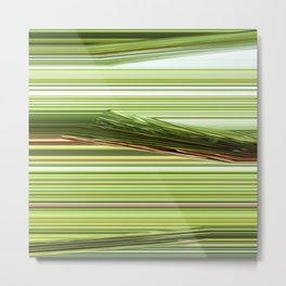 Green Strips Abstract Metal Print