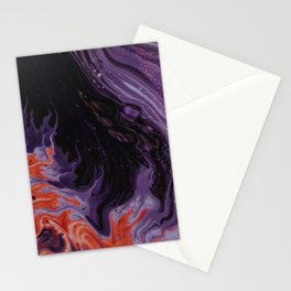 Black Purple Orange Abstract Art Stationery Cards