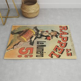 Vintage French revolutionary newspaper ad Rug