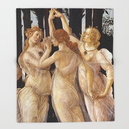 La Primavera - The Three Graces - Sandro Botticelli Throw Blanket