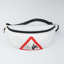 Stone Chipping Traffic Sign Isolated Fanny Pack