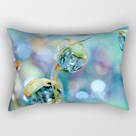 Rainbow Moss Drops Rectangular Pillow