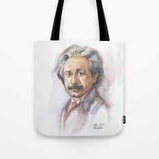 Albert Einstein Watercolor Portrait Tote Bag