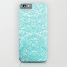 Robin Egg Blue Tooled Leather iPhone Case